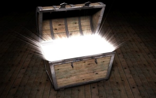 Box with glowing light