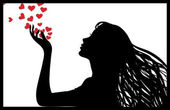 woman nad hearts