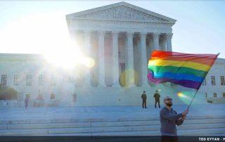 white house with rainbow flag