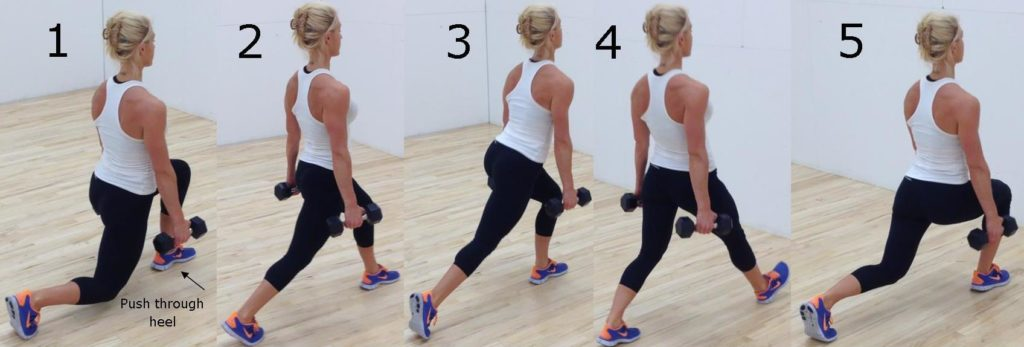 Walking lunges to strengthen muscles for a hike