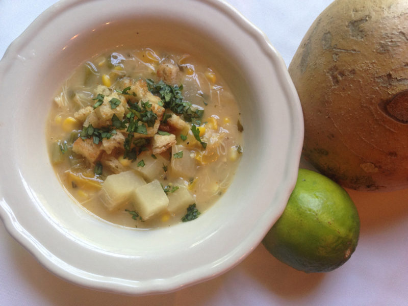 chowder with jicama and lime
