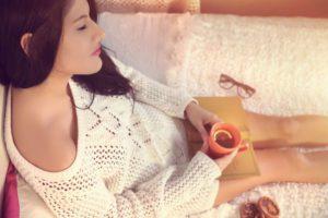 young woman relaxing enjoying time alone